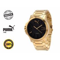 Relógio Puma Ultrasize Dourado Em Aço - Frete Grátis