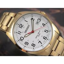 Relógio Orient Calendario Quartzo Plaque Ouro Mgss1048
