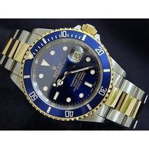 Relogio Submariner Azul Pulseira Mista Garantia Frete Gratis