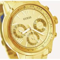 Relógio Feminino Guess Dourado, Original Na Caixa.