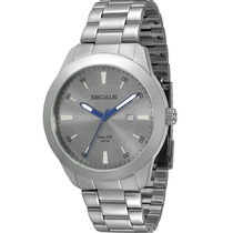 Relógio Seculus Barato Modelo Todo De Aço Prara + Gravata