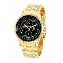 Relógio Alemão Konigswerk® Gold Black Marcadores De Cristal