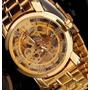 Relógio Masculino Steel Gold Color Transparent Menor Preço