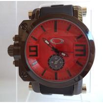 Relógio Masculino Estilo Oakley Com Visor Safira - Vermelho