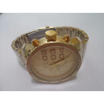Relógio De Pulso Masculino Atlantis Disel Dourado Gold Aço