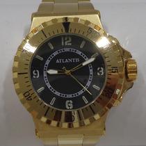 Relógio Masculino Dourado Esporte Luxo Atlantis G3222 50mm