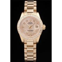 Relojio Rolex De Ouro 18k Com Diamantes (oyster Perpetual)