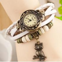 Relógio Pulso Feminino Couro Branco Vintage Pingente Coruja