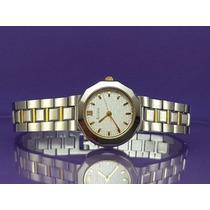 Relógio Bulova 98t09, Quartz Suíço, Visor Prata Reticulado.