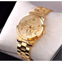 Relógio Feminino Mk Importado Aço Com Dourado