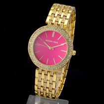 Relógio Michael Kors Dourado Strass Luxuoso