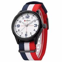 Relógio Curren Original 8195 Branco E Preto Frete Grátis