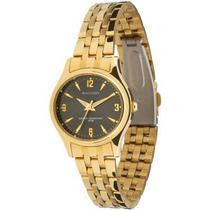 Relógio Backer 3034175f Dourado Fundo Preto Na Caixa Novo