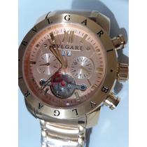 Relógio Bulgari Automático Dourado Fundo Dourado C\ Caixa O