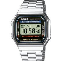 Relógio Casio A168wa-1w Prata Retro 100% Original Em S.p
