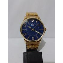 Lindo Relógio Tonmy Hilfiger Dourado Mostrador Azul