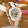 Relógio Feminino Pulseira De Aço Dourado E Preto Garantia