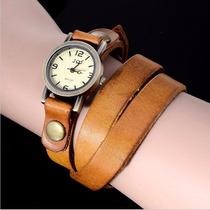 Relógio Feminino Modelo Vintage Com Pulseira De Couro