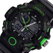 Relógio Masculino Ohsen Digital Esporte Verde - Já No Brasil