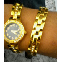 Relógios Stainless Steel (prova Dágua)- Dourado Feminino