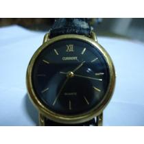 Relógio Pulso Feminino - Preto C Dourado - Pulseira Couro