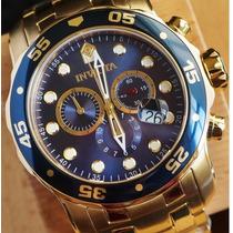 Relogio Invicta Scuba Diver 0073 Banhado A Ouro Dourado