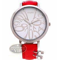 Relógio Feminino Exato Vermelho Prata Pingente Couro Origina