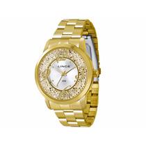 Relógio Lince Orient Dourado Feminino Lrgl002l Prova Dágua