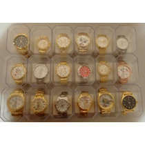 Lote Relógios Feminino Dourado Kit C/10 Atacado+brinde