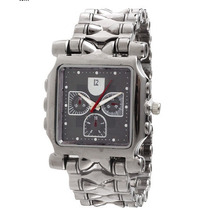 Relógio Grande Homem Forte Estiloso Prata Cinza Aço Inox