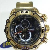Relógio Atlantis Sports Dourado Original A3270 Fundo Preto