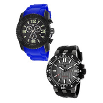 Swiss Legend Commander Chrono Silicone Azul Black Dial Set