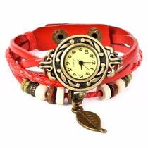 Relógio Pingente De Pulso Bracelete Feminino Vintage - Couro