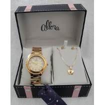 Kit Relógio Allora Feminino Al2036by/4d Colar E Brinco