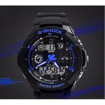 Relógio Digital Led Analógico S-shock Esporte Azul Preto