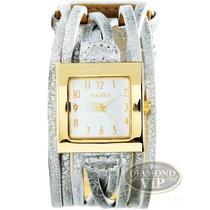 Relógio Feminino Exato Bracelete Couro Dourado Prata Novo