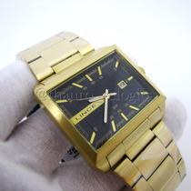 Relógio Dourado Masculino Lince Mqg4267s Quadrado Grande