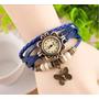 Relógio Vintage Feminino Com Pingente E Pulseira De Couro