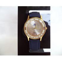 Relógio Feminino Tommy Coroa Dourada Redonda Visor Prata