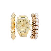 Relógio Feminino Pulseira De Aço Inoxidável Luxo Cor Ouro