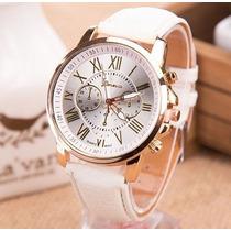 Relógio Feminino Barato Dourado Pulseira De Couro Geneva