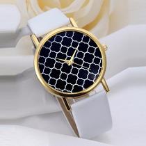 Relógio Feminino Genebra Pulseira Branca Couro Elegante Novo