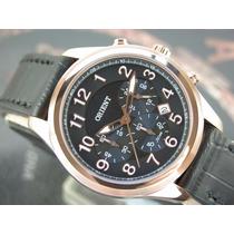 O R I E N T Relógio Orient Cronógrafo Quartzo Plaque Ouro