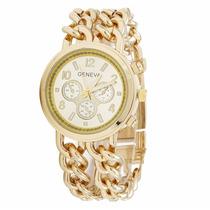 Relógio Feminino Dourado A Pronta Entrega