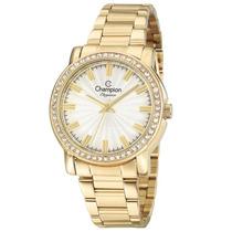 Relógio Feminino Champion Dourado Cn27250h C/ Pedras De Luxo