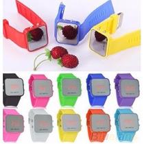 Relógio Pulso Led Digital Espelhado De Silicone Cores Unisex