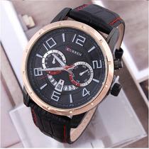 Relógio Masculino Curren Pulseira Em Couro Luxo Casual