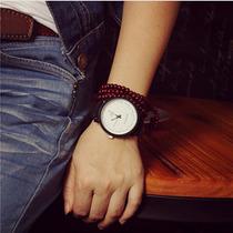 Relógio Quartz Feminino Caixa De Metal Pulseira Em Couro