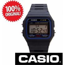 Casio F-91 Digital Alarme Crono Série Ouro Prata Frt Grátis