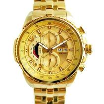 Relógio Masculino Casio Edifice Ef-558sg-1av Todo Dourado